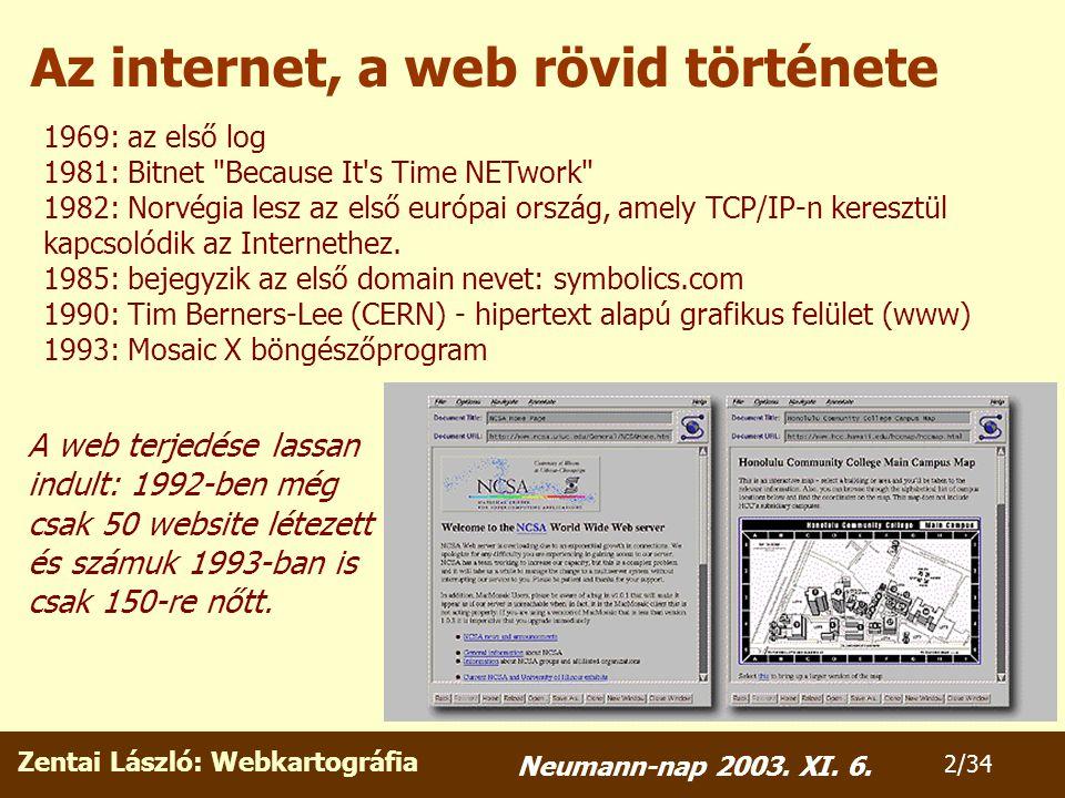 Zentai László: Webkartográfia 23/34 Neumann-nap 2003. XI. 6.