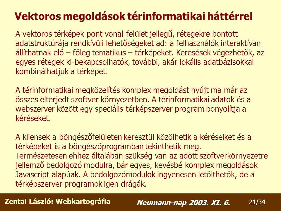 Zentai László: Webkartográfia 21/34 Neumann-nap 2003.