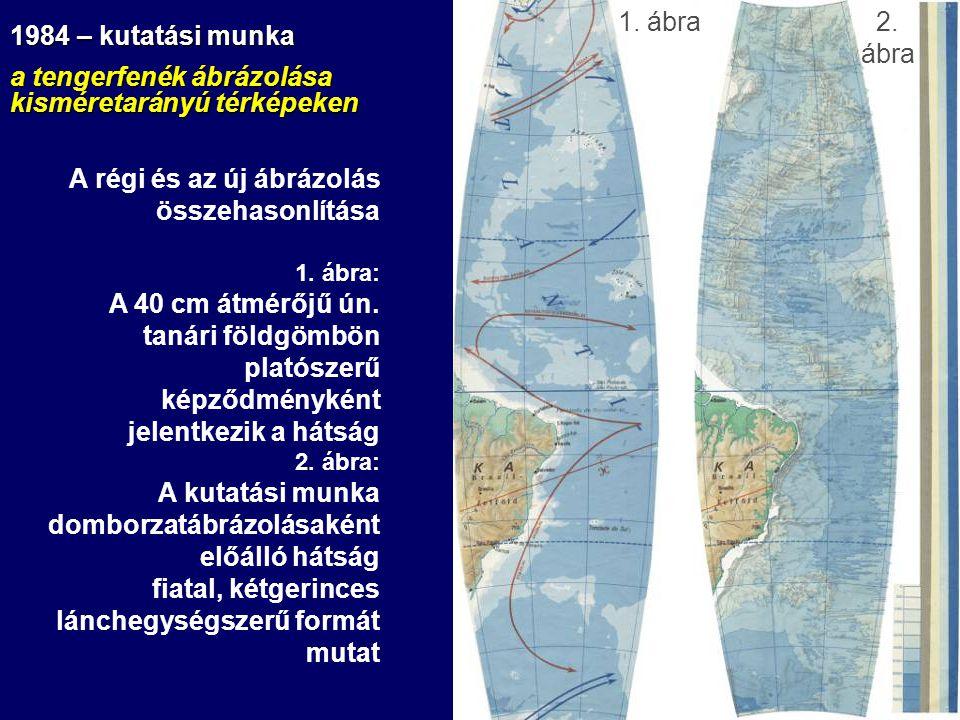 A régi és az új ábrázolás összehasonlítása 1. ábra: A 40 cm átmérőjű ún. tanári földgömbön platószerű képződményként jelentkezik a hátság 2. ábra: A k