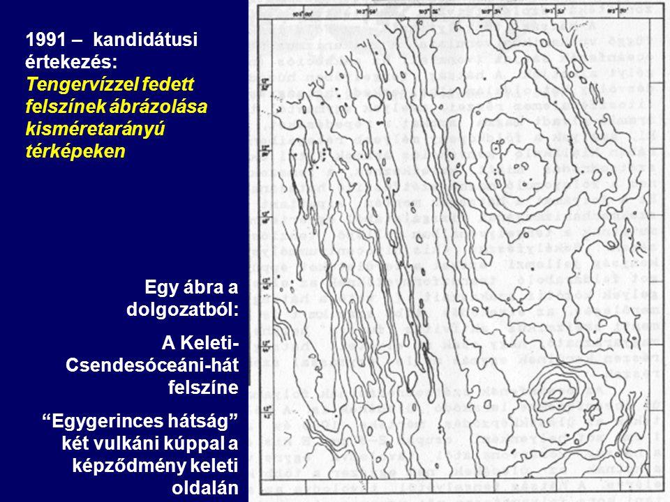 Egy ábra a dolgozatból: A Keleti- Csendesóceáni-hát felszíne Egygerinces hátság két vulkáni kúppal a képződmény keleti oldalán 1991 – kandidátusi értekezés: Tengervízzel fedett felszínek ábrázolása kisméretarányú térképeken