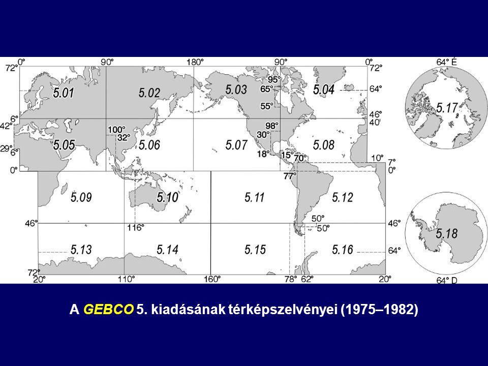 A GEBCO 5. kiadásának térképszelvényei (1975–1982)