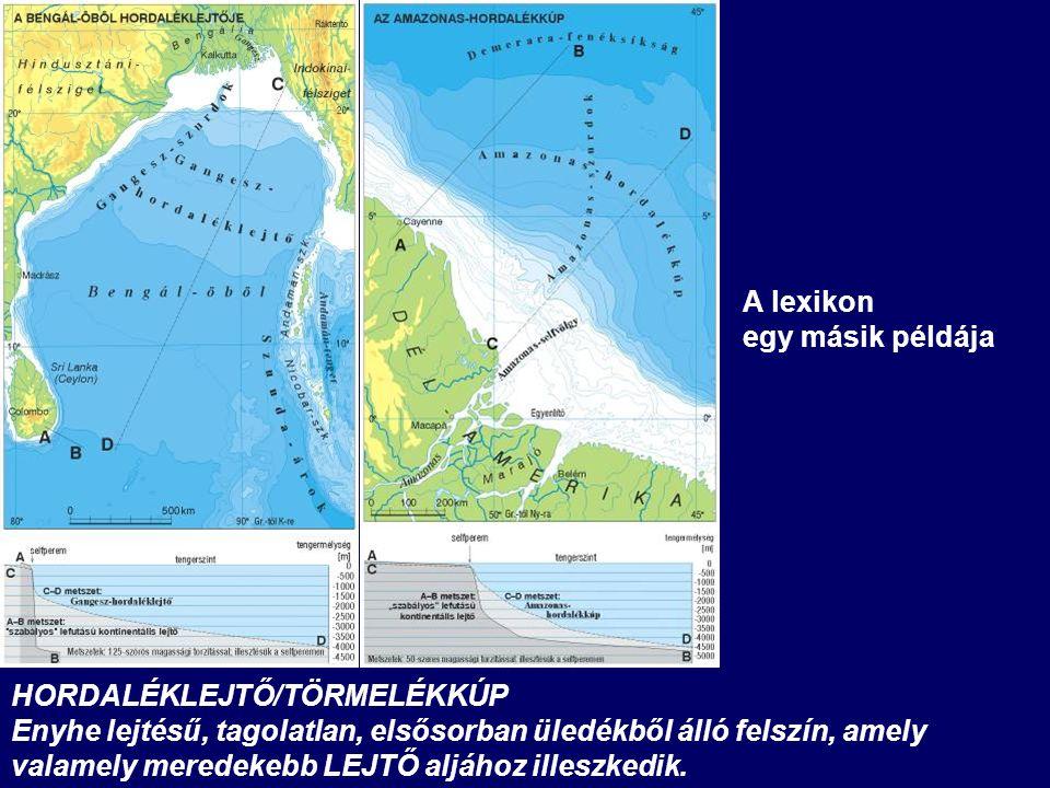 HORDALÉKLEJTŐ/TÖRMELÉKKÚP Enyhe lejtésű, tagolatlan, elsősorban üledékből álló felszín, amely valamely meredekebb LEJTŐ aljához illeszkedik.