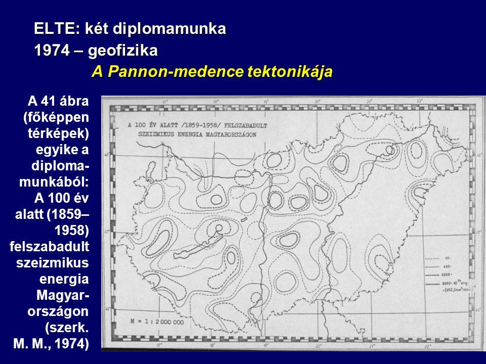 ELTE: két diplomamunka 1974 – geofizika A Pannon-medence tektonikája A Pannon-medence tektonikája A 41 ábra (főképpen térképek) egyike a diploma- munkából: A 100 év alatt (1859– 1958) felszabadult szeizmikus energia Magyar- országon (szerk.