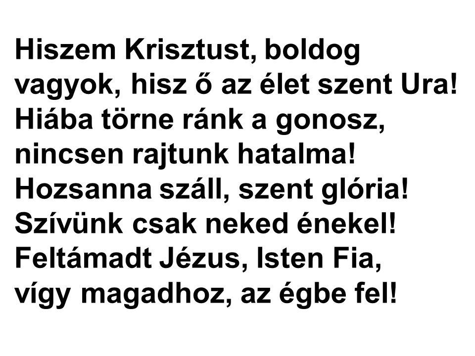 Hiszem Krisztust, boldog vagyok, hisz ő az élet szent Ura! Hiába törne ránk a gonosz, nincsen rajtunk hatalma! Hozsanna száll, szent glória! Szívünk c