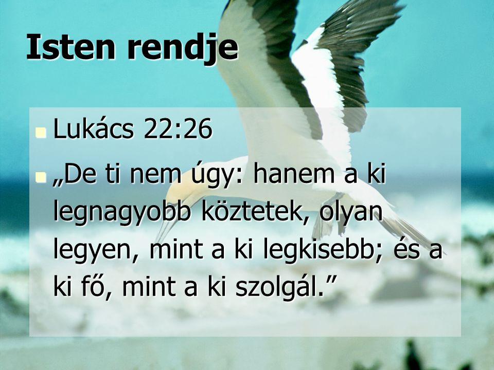 """Isten rendje Isten rendje Lukács 22:26 Lukács 22:26 """"De ti nem úgy: hanem a ki legnagyobb köztetek, olyan legyen, mint a ki legkisebb; és a ki fő, min"""