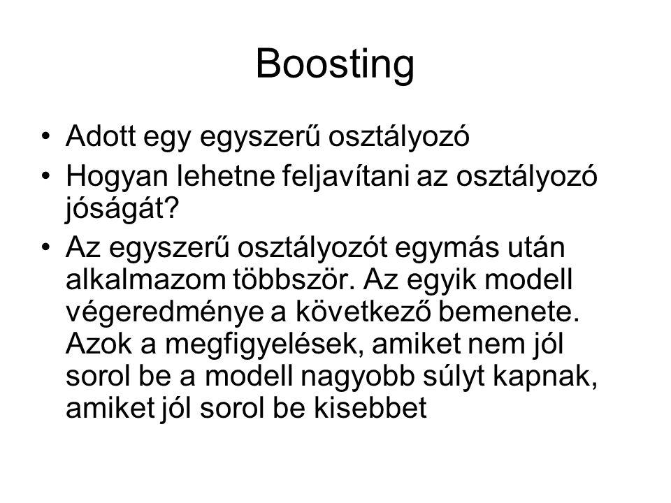 Boosting Adott egy egyszerű osztályozó Hogyan lehetne feljavítani az osztályozó jóságát? Az egyszerű osztályozót egymás után alkalmazom többször. Az e