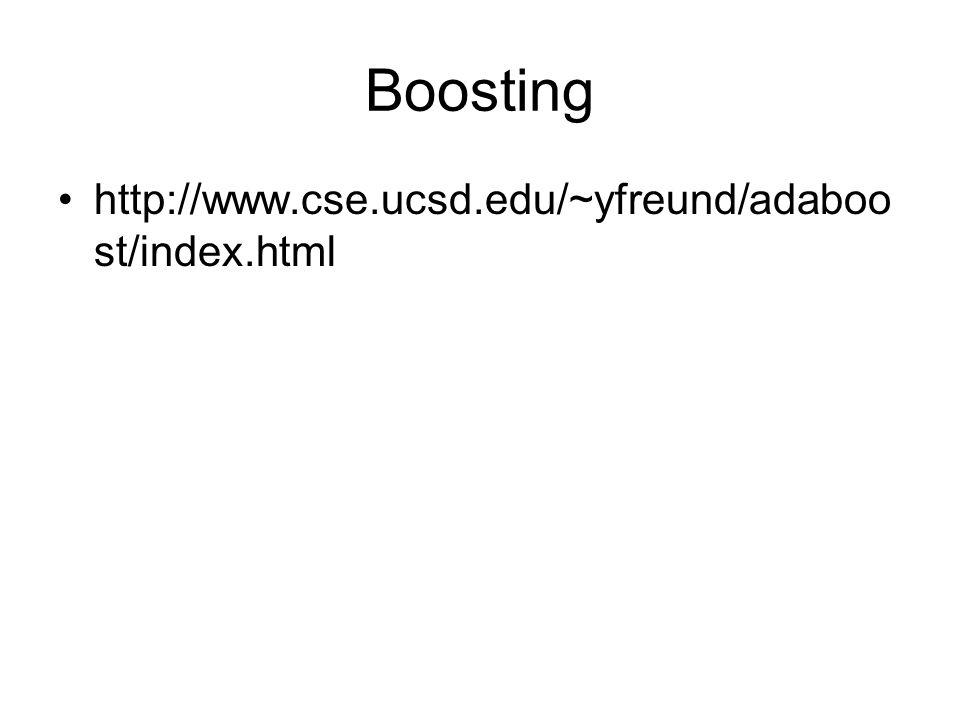Boosting http://www.cse.ucsd.edu/~yfreund/adaboo st/index.html