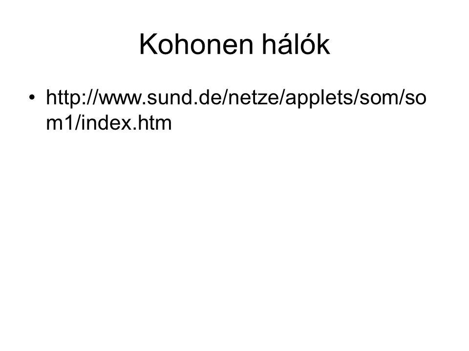 Kohonen hálók http://www.sund.de/netze/applets/som/so m1/index.htm