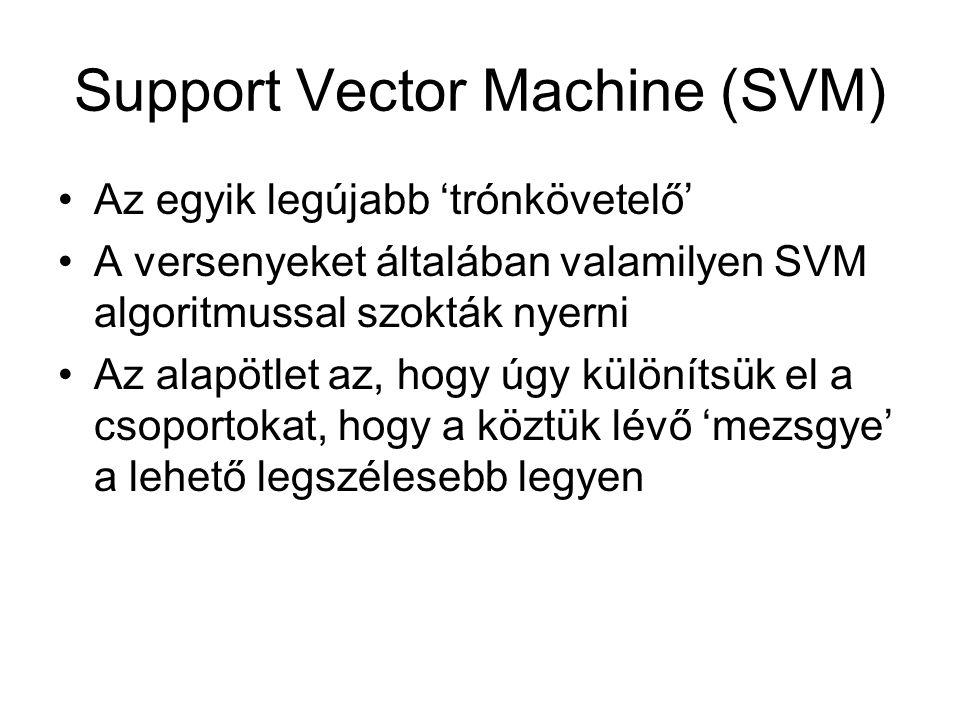 Support Vector Machine (SVM) Az egyik legújabb 'trónkövetelő' A versenyeket általában valamilyen SVM algoritmussal szokták nyerni Az alapötlet az, hog