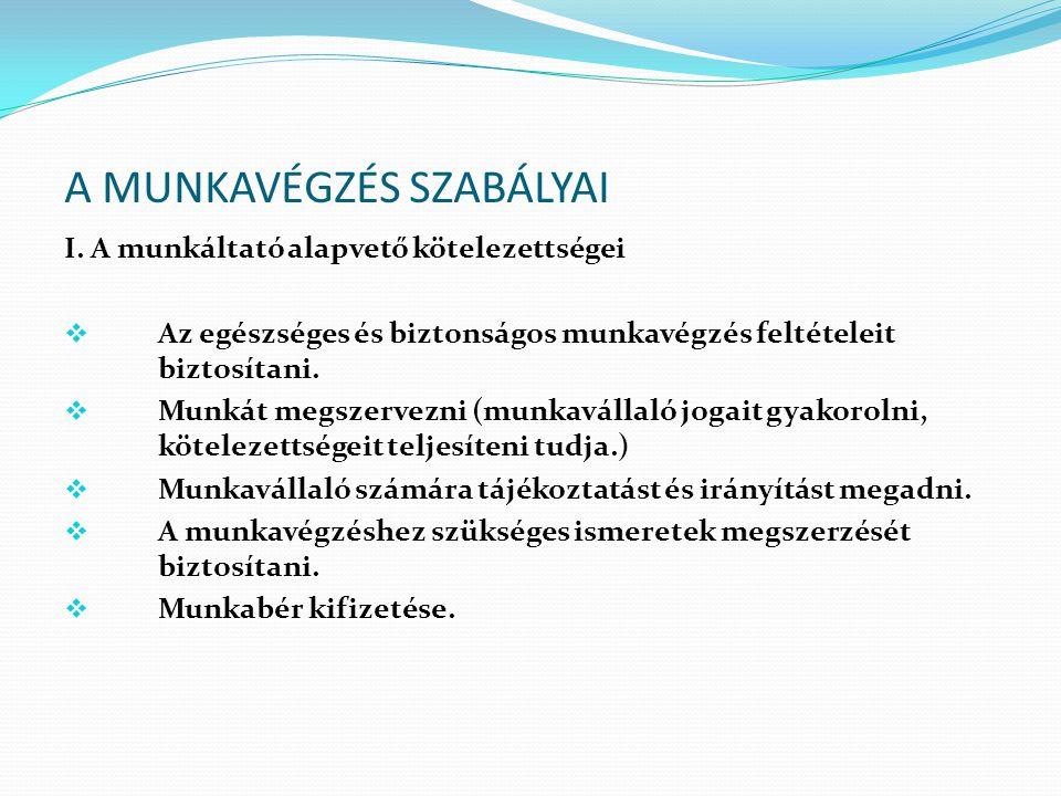 A MUNKAVÉGZÉS SZABÁLYAI II.