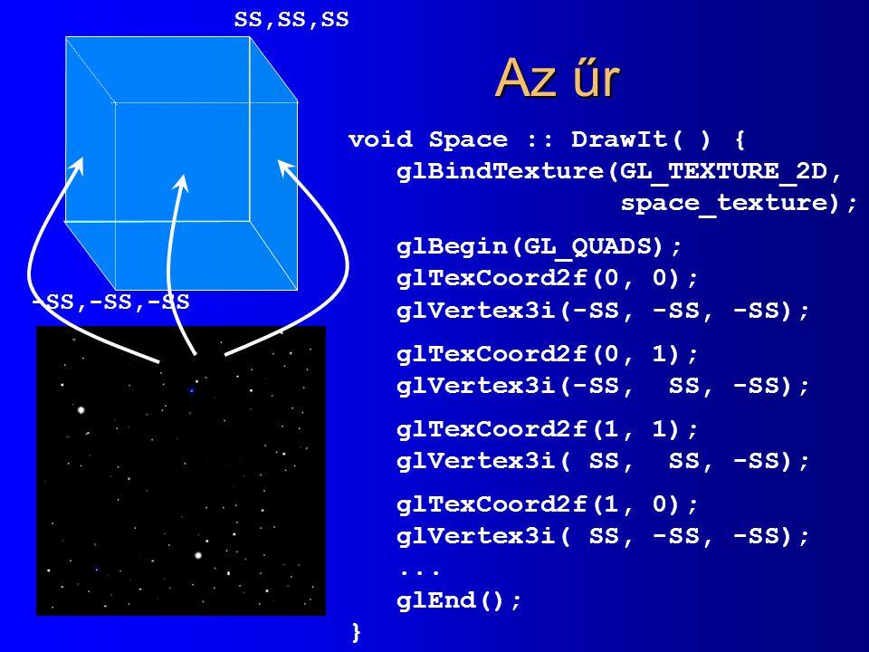 Az űr void Space :: DrawIt( ) { glBindTexture(GL_TEXTURE_2D, space_texture); glBegin(GL_QUADS); glTexCoord2f(0, 0); glVertex3i(-SS, -SS, -SS); glTexCoord2f(0, 1); glVertex3i(-SS, SS, -SS); glTexCoord2f(1, 1); glVertex3i( SS, SS, -SS); glTexCoord2f(1, 0); glVertex3i( SS, -SS, -SS);...