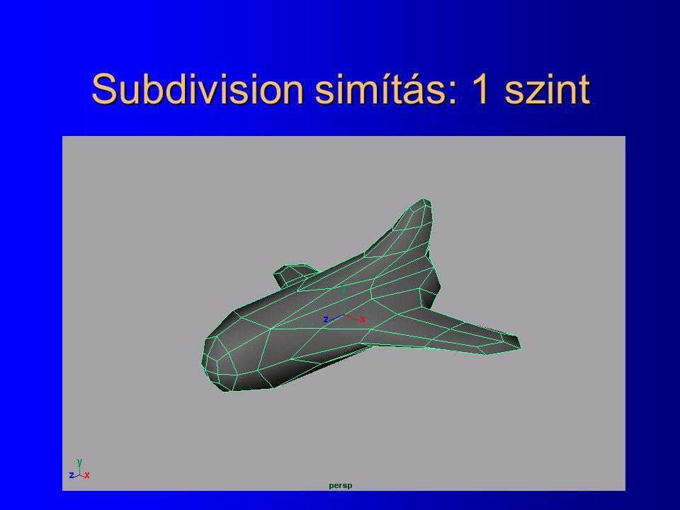 Subdivision simítás: 1 szint