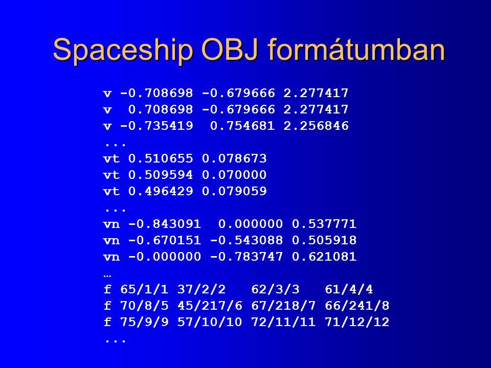 Spaceship OBJ formátumban v -0.708698 -0.679666 2.277417 v 0.708698 -0.679666 2.277417 v -0.735419 0.754681 2.256846...