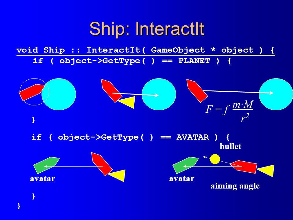 Ship: InteractIt void Ship :: InteractIt( GameObject * object ) { if ( object->GetType( ) == PLANET ) { } if ( object->GetType( ) == AVATAR ) { } F =