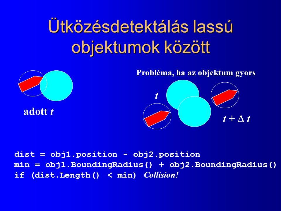 Ütközésdetektálás lassú objektumok között dist = obj1.position - obj2.position min = obj1.BoundingRadius() + obj2.BoundingRadius() if (dist.Length() < min) Collision.
