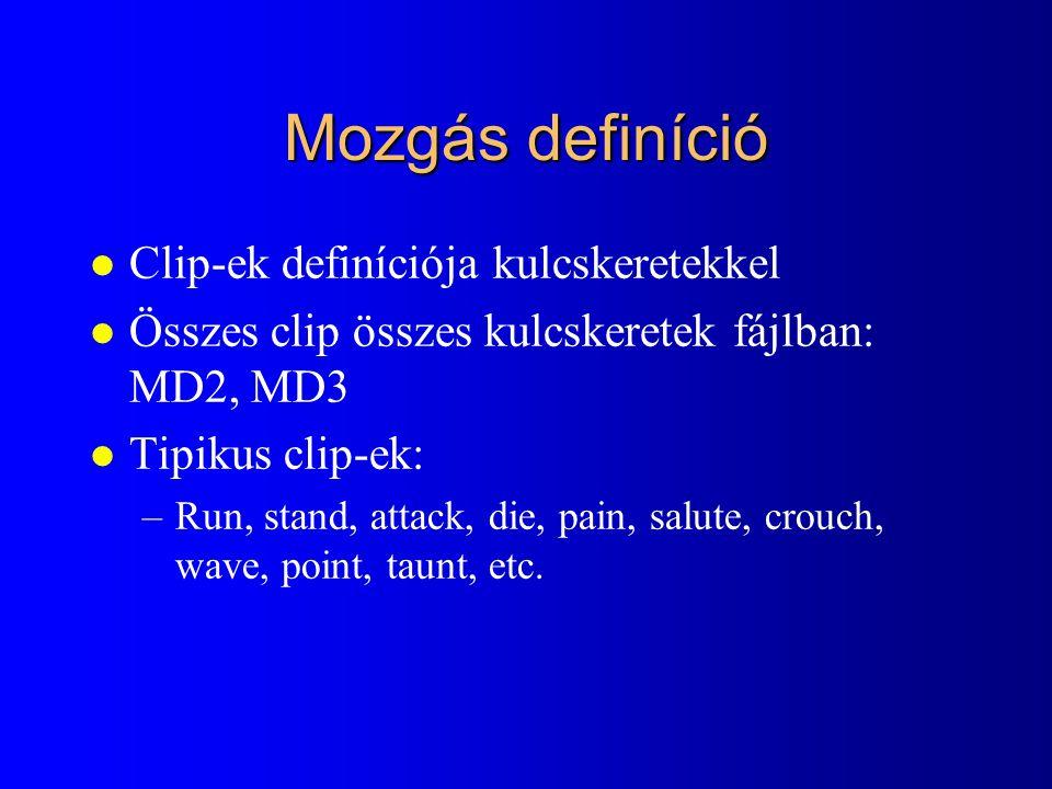 Mozgás definíció l Clip-ek definíciója kulcskeretekkel l Összes clip összes kulcskeretek fájlban: MD2, MD3 l Tipikus clip-ek: –Run, stand, attack, die, pain, salute, crouch, wave, point, taunt, etc.