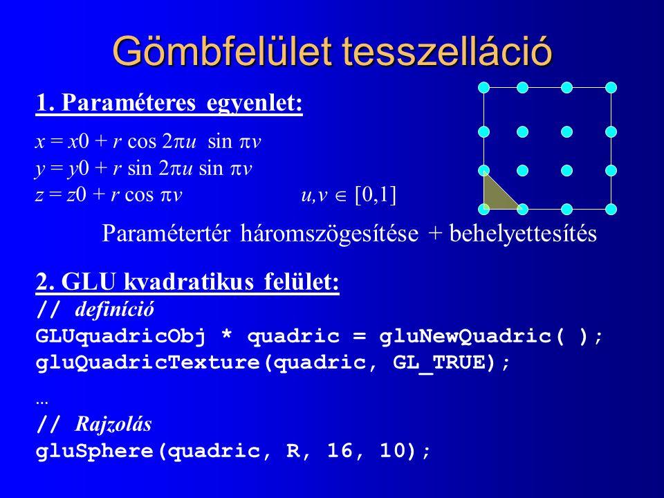 Planet: Animate, Draw class Planet : public GameObject { float rot_angle, rot_speed, radius; unsigned int texture_id; GLUquadricObj * quadric; public: Planet( … ) { … } void ControlIt( float dt ) { } void InteractIt( GameObject * o ) { } void AnimateIt( float dt ) { rot_angle += rot_speed * dt; } void DrawIt( ) { glEnable(GL_TEXTURE_2D); glBindTexture(GL_TEXTURE_2D, texture_id); glPushMatrix( ); glRotatef( rot_angle, 0, 0, 1 ); gluSphere( quadric, radius, 16, 10 ); glPopMatrix( ); glDisable(GL_TEXTURE_2D); } };