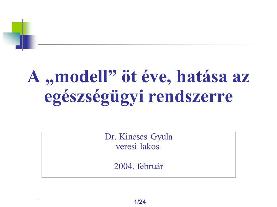 """1/24 A """"modell öt éve, hatása az egészségügyi rendszerre Dr."""