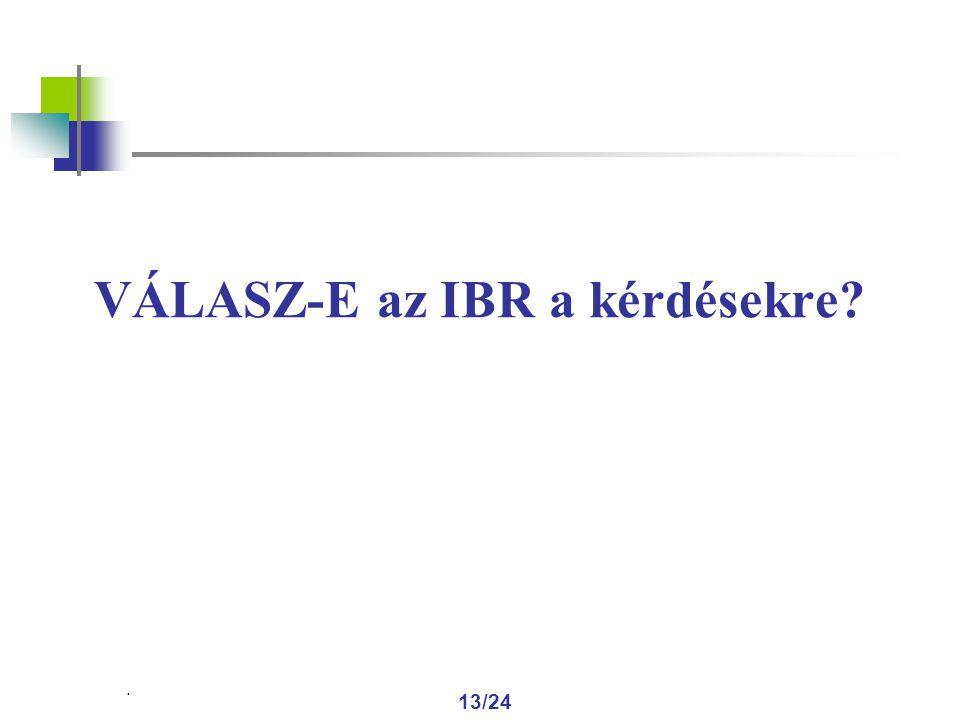 . 13/24 VÁLASZ-E az IBR a kérdésekre
