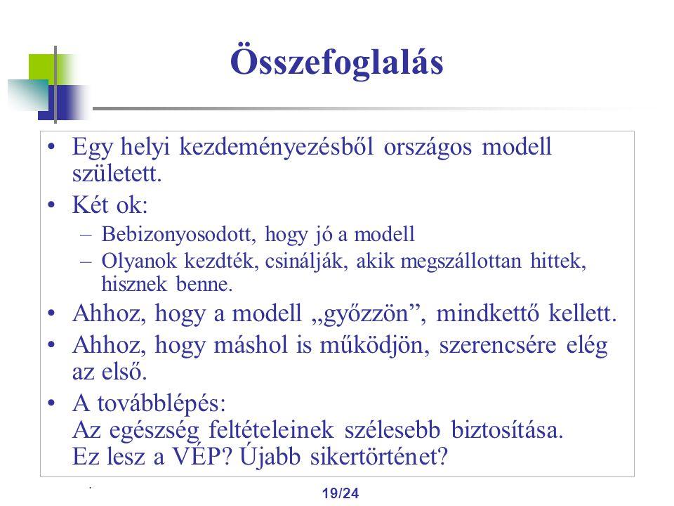 19/24 Összefoglalás Egy helyi kezdeményezésből országos modell született.