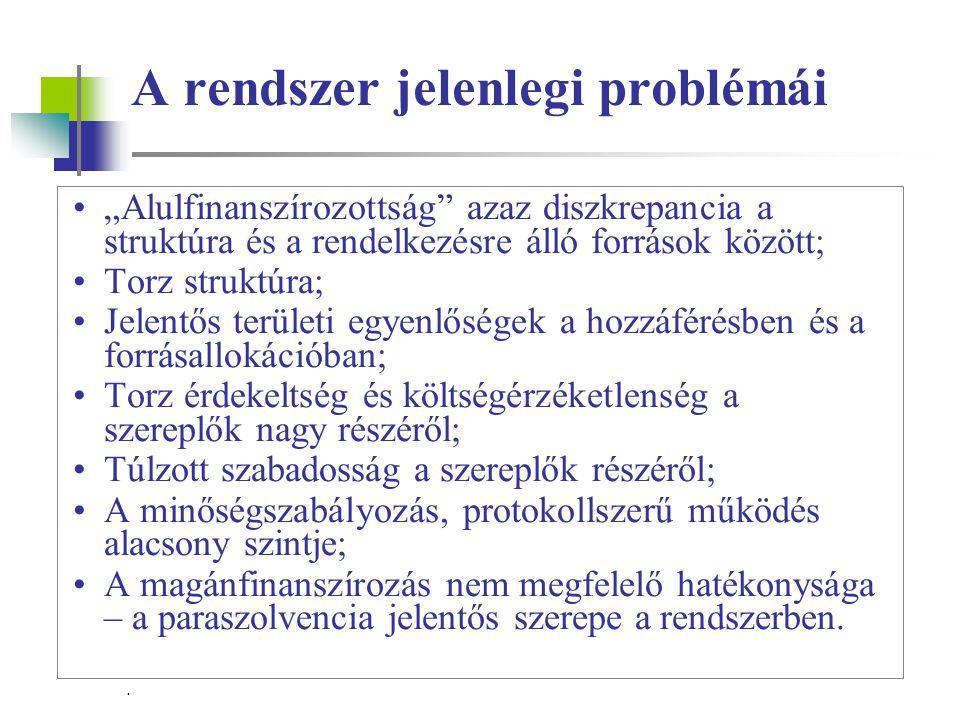 """. A rendszer jelenlegi problémái """"Alulfinanszírozottság azaz diszkrepancia a struktúra és a rendelkezésre álló források között; Torz struktúra; Jelentős területi egyenlőségek a hozzáférésben és a forrásallokációban; Torz érdekeltség és költségérzéketlenség a szereplők nagy részéről; Túlzott szabadosság a szereplők részéről; A minőségszabályozás, protokollszerű működés alacsony szintje; A magánfinanszírozás nem megfelelő hatékonysága – a paraszolvencia jelentős szerepe a rendszerben."""