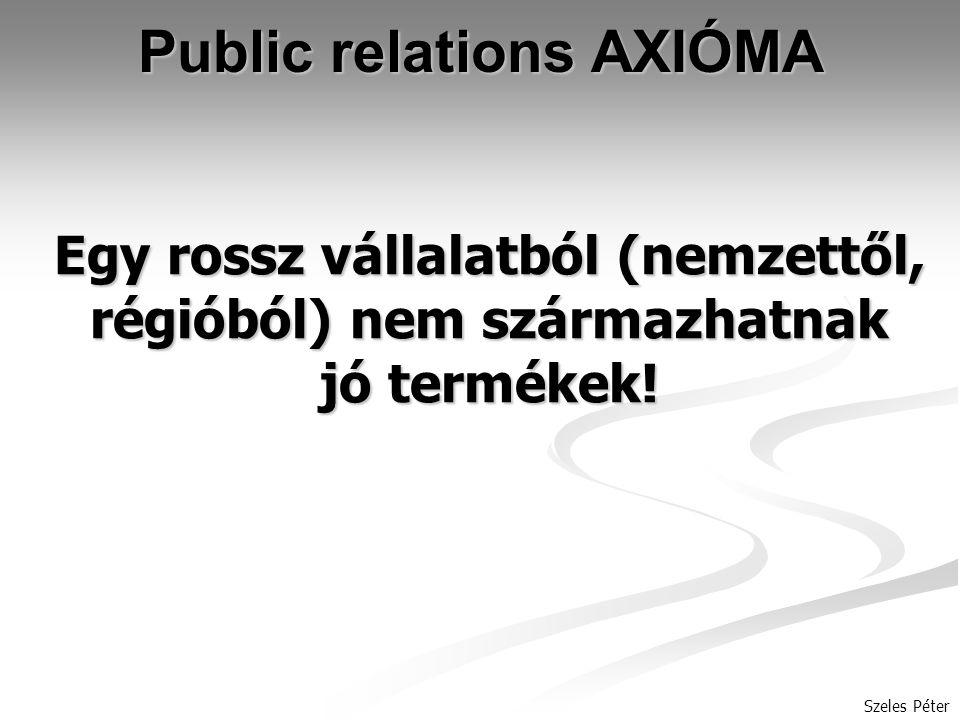 Szeles Péter Public relations AXIÓMA Egy rossz vállalatból (nemzettől, régióból) nem származhatnak jó termékek!