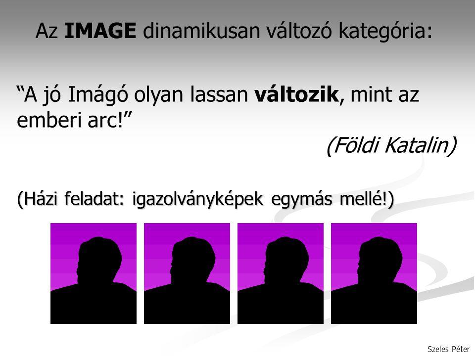 Szeles Péter Az IMAGE dinamikusan változó kategória: A jó Imágó olyan lassan változik, mint az emberi arc! (Földi Katalin) (Házi feladat: igazolványképek egymás mellé!)