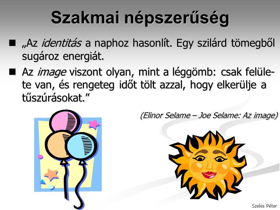 """Szeles Péter Szakmai népszerűség """"Az identitás a naphoz hasonlít."""