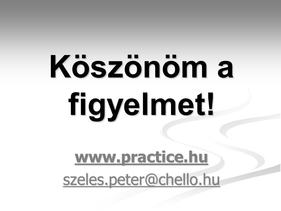 Köszönöm a figyelmet! www.practice.huszeles.peter@chello.hu