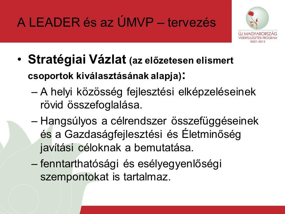 A LEADER és az ÚMVP – tervezés Stratégiai Vázlat (az előzetesen elismert csoportok kiválasztásának alapja) : –A helyi közösség fejlesztési elképzeléseinek rövid összefoglalása.