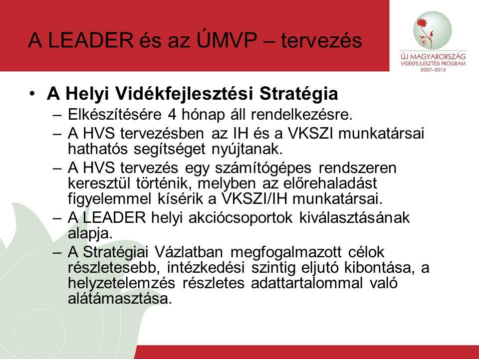 A LEADER és az ÚMVP – tervezés A Helyi Vidékfejlesztési Stratégia –Elkészítésére 4 hónap áll rendelkezésre.