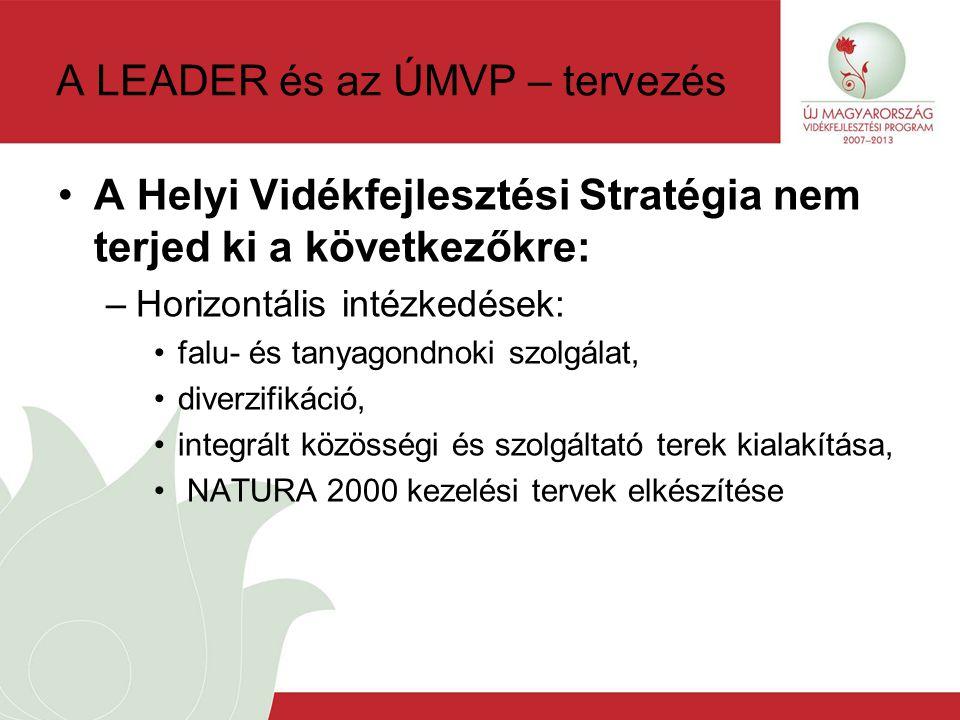 A LEADER és az ÚMVP – tervezés A Helyi Vidékfejlesztési Stratégia nem terjed ki a következőkre: –Horizontális intézkedések: falu- és tanyagondnoki szolgálat, diverzifikáció, integrált közösségi és szolgáltató terek kialakítása, NATURA 2000 kezelési tervek elkészítése