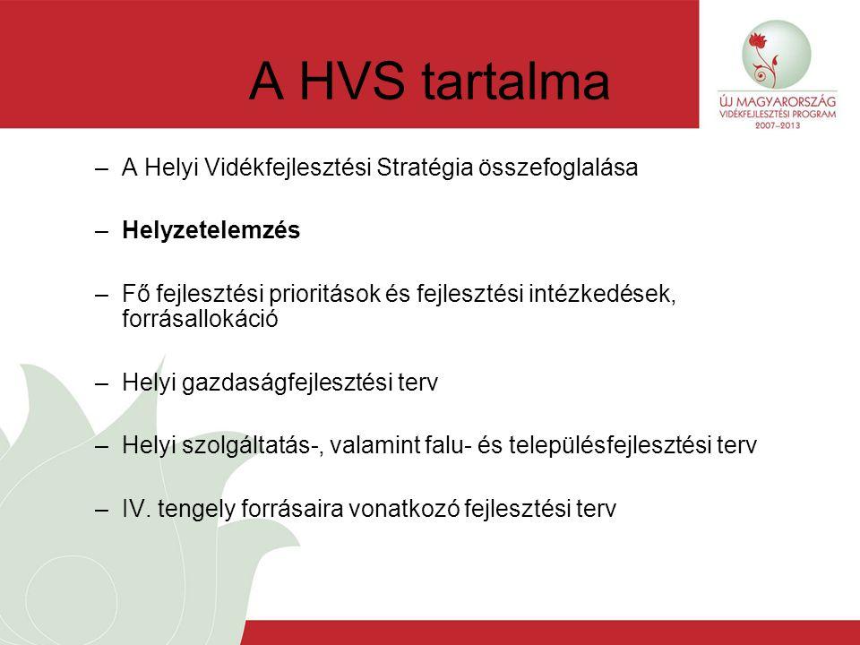 A HVS tartalma –A Helyi Vidékfejlesztési Stratégia összefoglalása –Helyzetelemzés –Fő fejlesztési prioritások és fejlesztési intézkedések, forrásallokáció –Helyi gazdaságfejlesztési terv –Helyi szolgáltatás-, valamint falu- és településfejlesztési terv –IV.