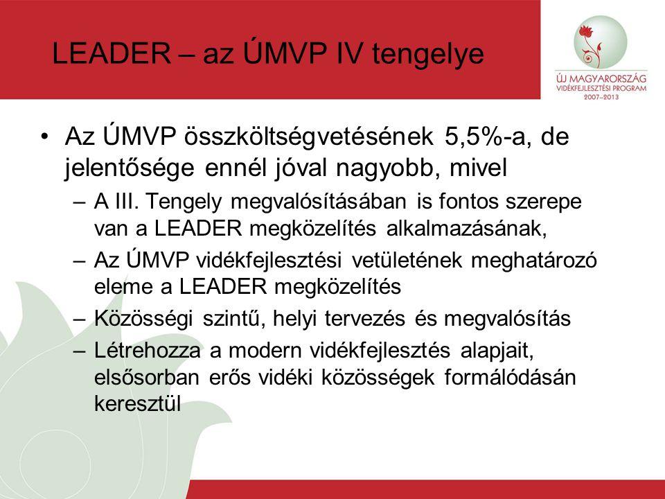 LEADER – az ÚMVP IV tengelye Az ÚMVP összköltségvetésének 5,5%-a, de jelentősége ennél jóval nagyobb, mivel –A III.