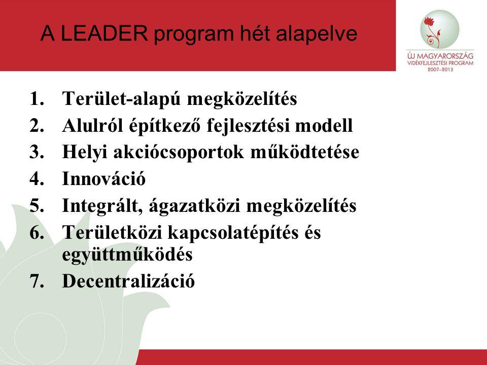 A LEADER program hét alapelve 1.Terület-alapú megközelítés 2.Alulról építkező fejlesztési modell 3.Helyi akciócsoportok működtetése 4.Innováció 5.Integrált, ágazatközi megközelítés 6.Területközi kapcsolatépítés és együttműködés 7.Decentralizáció
