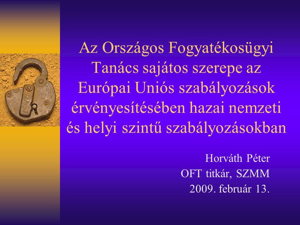 Az Országos Fogyatékosügyi Tanács sajátos szerepe az Európai Uniós szabályozások érvényesítésében hazai nemzeti és helyi szintű szabályozásokban Horváth Péter OFT titkár, SZMM 2009.