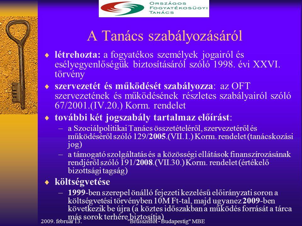 Brüsszeltől - Budapestig MBE A Tanács szabályozásáról  létrehozta: a fogyatékos személyek jogairól és esélyegyenlőségük biztosításáról szóló 1998.