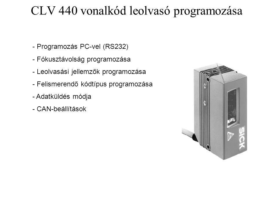 CLV 440 vonalkód leolvasó programozása - Programozás PC-vel (RS232) - Fókusztávolság programozása - Leolvasási jellemzők programozása - Felismerendő k