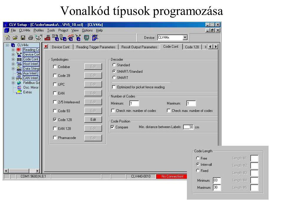Vonalkód típusok programozása