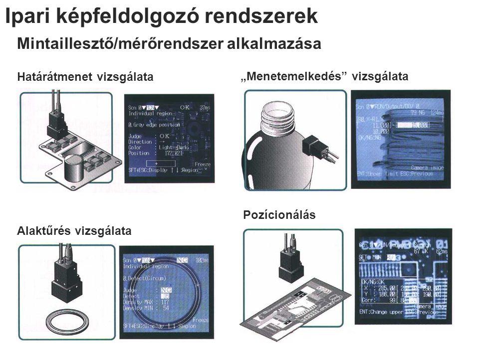 """Ipari képfeldolgozó rendszerek Mintaillesztő/mérőrendszer alkalmazása Határátmenet vizsgálata Alaktűrés vizsgálata """"Menetemelkedés"""" vizsgálata Pozício"""