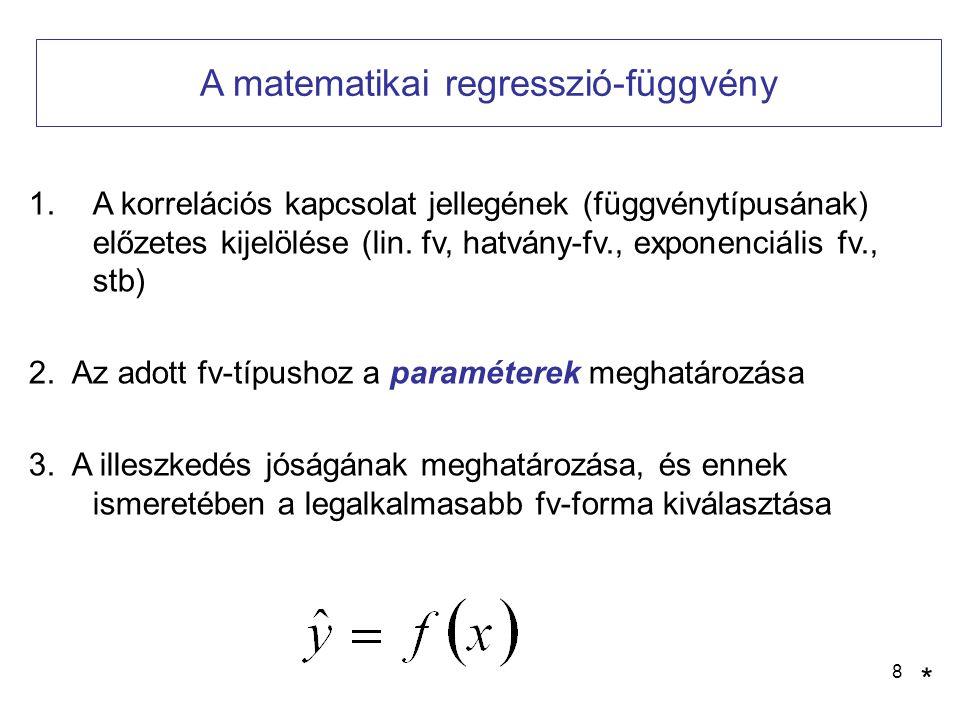 8 A matematikai regresszió-függvény 1.A korrelációs kapcsolat jellegének (függvénytípusának) előzetes kijelölése (lin. fv, hatvány-fv., exponenciális