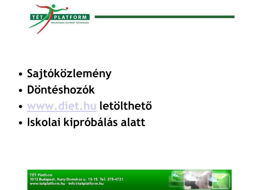 Sajtóközlemény Döntéshozók www.diet.hu letölthetőwww.diet.hu Iskolai kipróbálás alatt