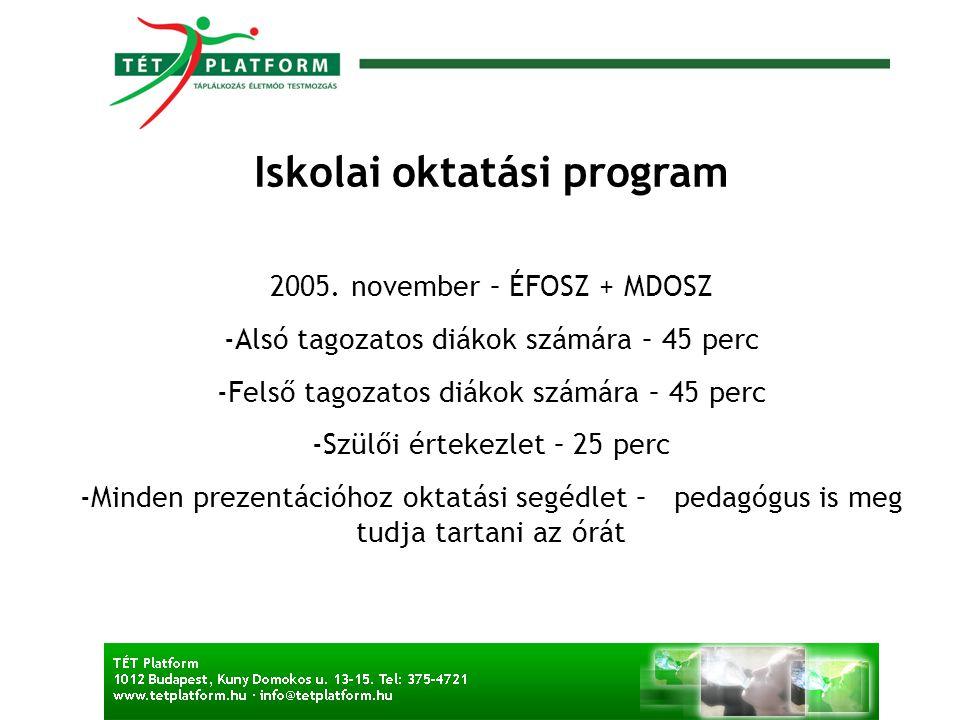 Iskolai oktatási program 2005.