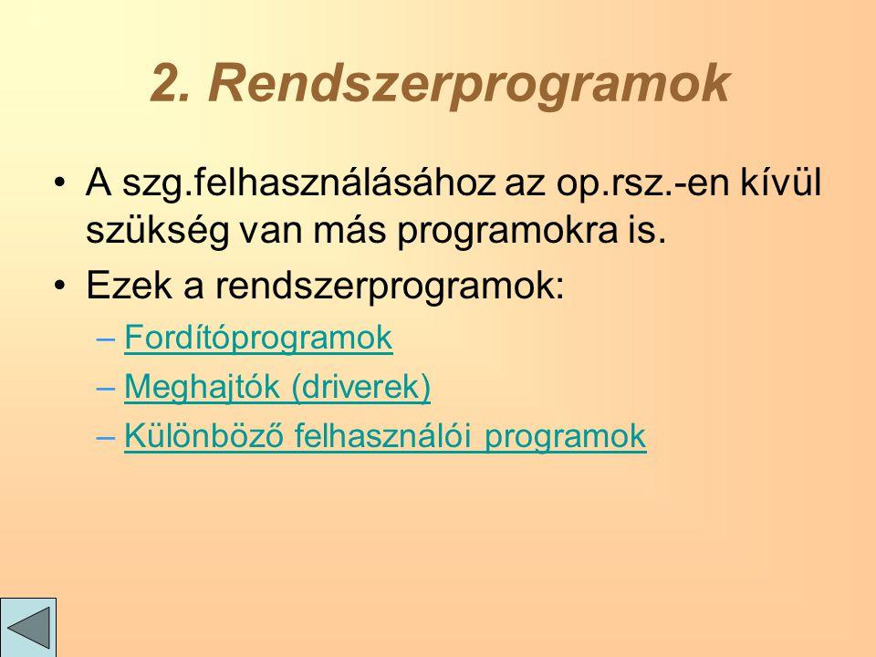 2. Rendszerprogramok A szg.felhasználásához az op.rsz.-en kívül szükség van más programokra is.