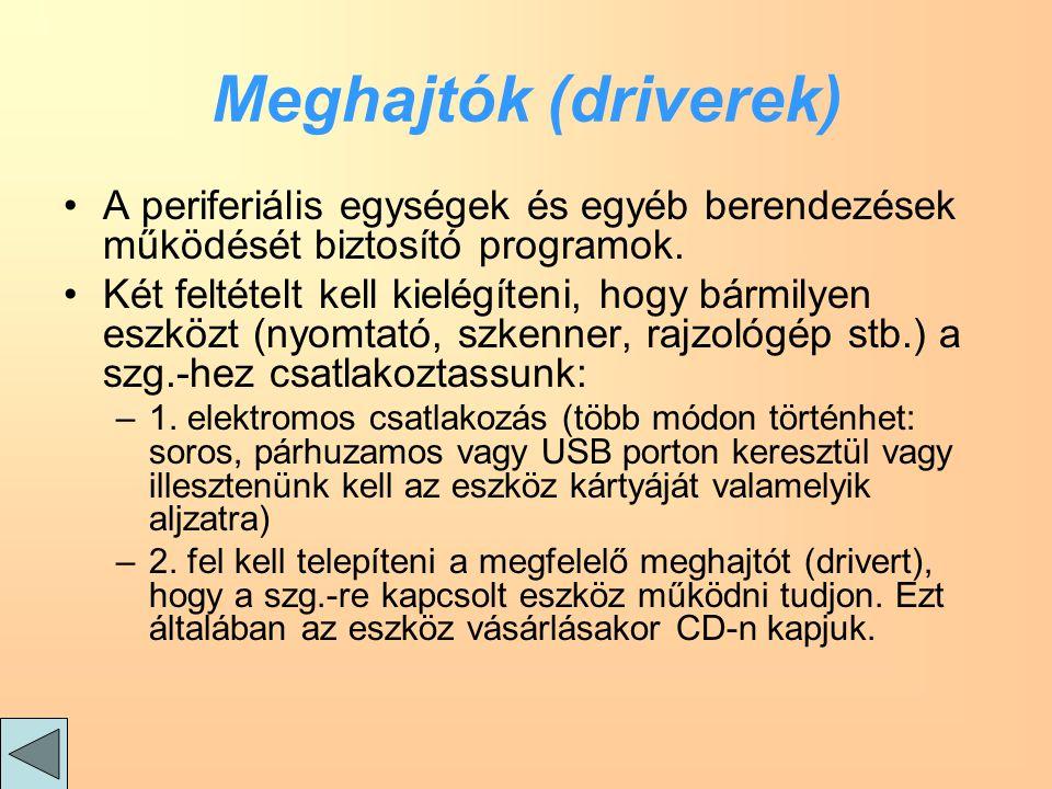 Meghajtók (driverek) A periferiális egységek és egyéb berendezések működését biztosító programok.