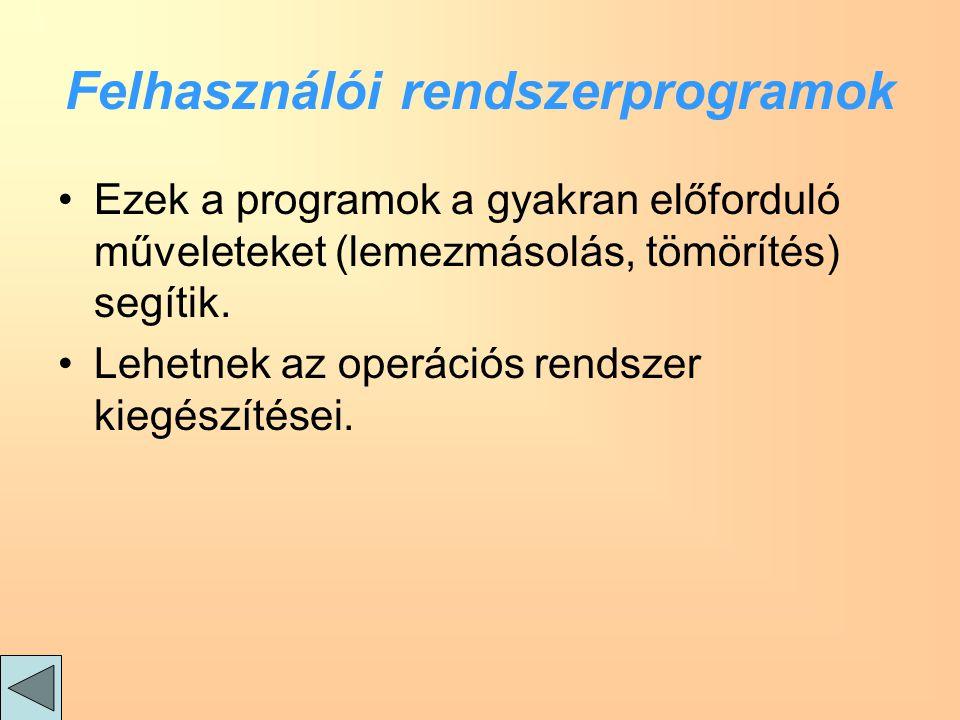 Felhasználói rendszerprogramok Ezek a programok a gyakran előforduló műveleteket (lemezmásolás, tömörítés) segítik.