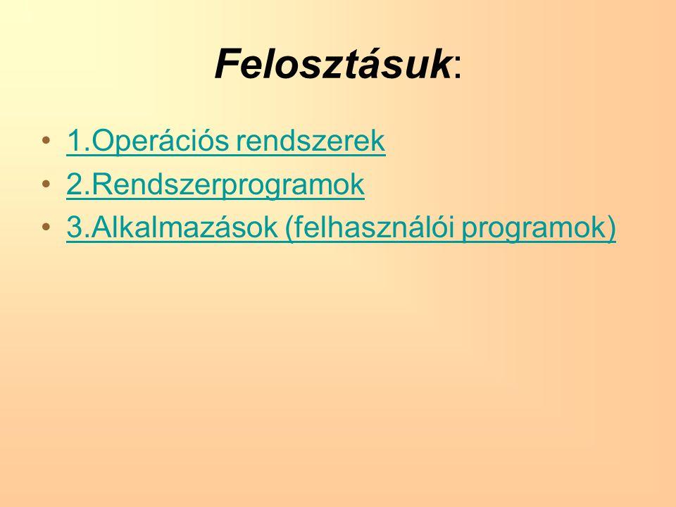 Felosztásuk: 1.Operációs rendszerek 2.Rendszerprogramok 3.Alkalmazások (felhasználói programok)