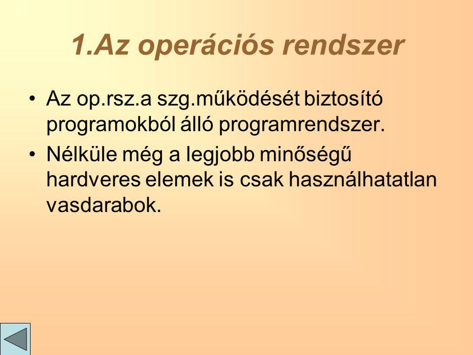 1.Az operációs rendszer Az op.rsz.a szg.működését biztosító programokból álló programrendszer.