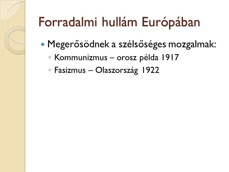 Forradalmi hullám Európában Megerősödnek a szélsőséges mozgalmak: ◦ Kommunizmus – orosz példa 1917 ◦ Fasizmus – Olaszország 1922