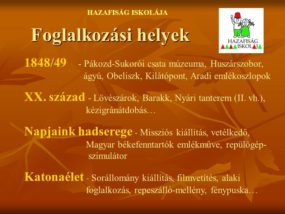 Foglalkozási helyek HAZAFISÁG ISKOLÁJA 1848/49 - Pákozd-Sukorói csata múzeuma, Huszárszobor, ágyú, Obeliszk, Kilátópont, Aradi emlékoszlopok XX. száza